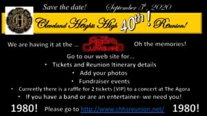 Save the date Cleveland Heights High Class of 1980 reunion